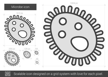 microbio: icono de la línea microbio ilustración aislado sobre fondo blanco. icono de la línea microbio de infografía, sitio web o aplicación. icono escalable diseñada en un sistema de red.
