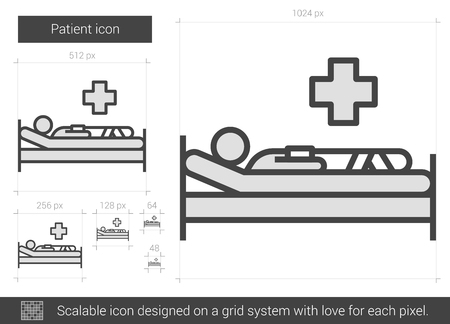 Patient vector line icon isolated on white background. Patient line icon for infographic, website or app. Scalable icon designed on a grid system.