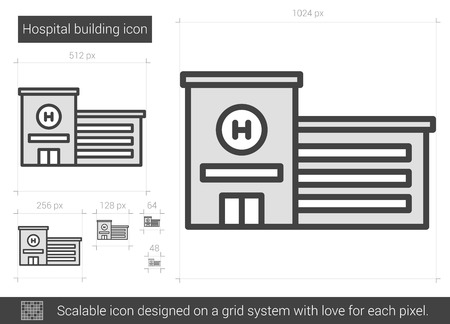 Hospital building vector line icon isolated on white background. Hospital building line icon for infographic, website or app. Scalable icon designed on a grid system. Ilustração