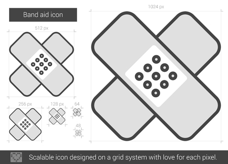 band aid: Band aid vector line icon isolated on white background. Band aid line icon for infographic, website or app. Scalable icon designed on a grid system. Illustration