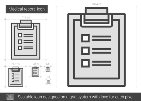 report icon: Medical report vector line icon isolated on white background. Medical report line icon for infographic, website or app. Scalable icon designed on a grid system.
