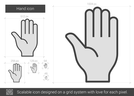 Hand vector line icon isolated on white background. Hand line icon for infographic, website or app. Scalable icon designed on a grid system.