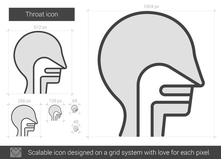 throat: Throat vector line icon isolated on white background. Throat line icon for infographic, website or app. Scalable icon designed on a grid system.