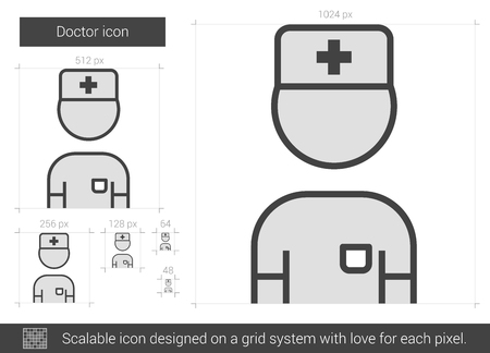 medico: Doctor vector line icon isolated on white background. Doctor line icon for infographic, website or app. Scalable icon designed on a grid system. Illustration