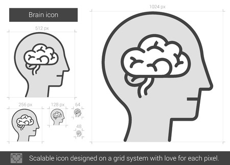 neurosurgery: Brain vector line icon isolated on white background. Brain line icon for infographic, website or app. Scalable icon designed on a grid system.