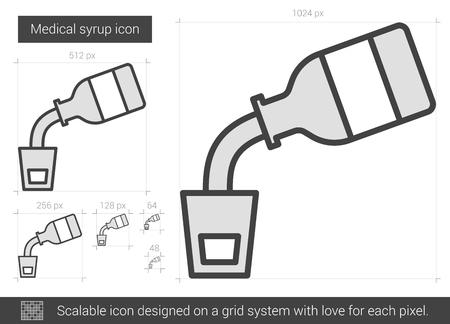 Medische stroop vector lijn pictogram op een witte achtergrond. Medische stroop lijn pictogram van infographic, website of app. Schaalbaar pictogram ontworpen op een grid-systeem.