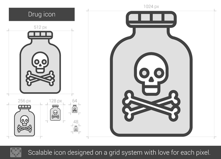 overdose: Drug vector line icon isolated on white background. Drug line icon for infographic, website or app. Scalable icon designed on a grid system.