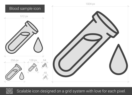 blood draw: Blood sample vector line icon isolated on white background. Blood sample line icon for infographic, website or app. Scalable icon designed on a grid system.