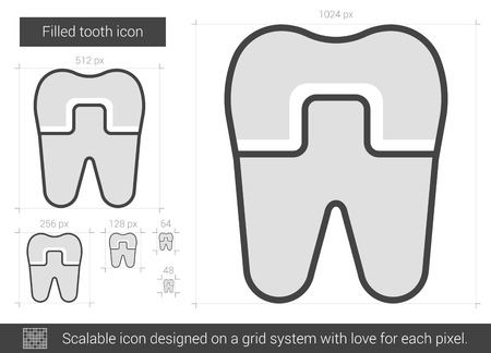 alloy: Filled tooth vector line icon isolated on white background. Filled tooth line icon for infographic, website or app. Scalable icon designed on a grid system.