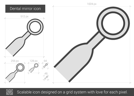 indirect: Dental mirror vector line icon isolated on white background. Dental mirror line icon for infographic, website or app. Scalable icon designed on a grid system. Illustration