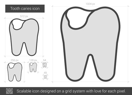crumbling: Tooth caries vector line icon isolated on white background. Tooth caries line icon for infographic, website or app. Scalable icon designed on a grid system.