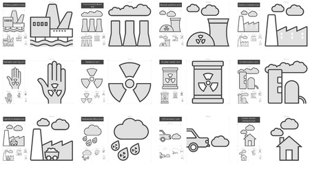hazardous waste: Ecology biohazard vector line icon set isolated on white background. Ecology biohazard line icon set for infographic, website or app. Scalable icon designed on a grid system.