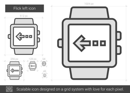 flick: Flick left vector line icon isolated on white background. Flick left line icon for infographic, website or app. Scalable icon designed on a grid system.