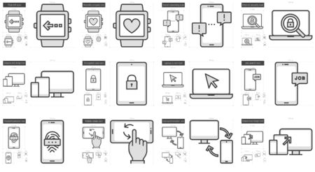 Mobility vector line icon set isolated on white background. Mobility line icon set for infographic, website or app. Scalable icon designed on a grid system. Ilustrace