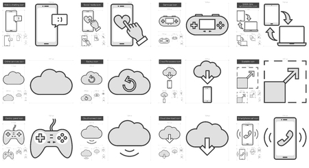 scalable set: Mobility vector line icon set isolated on white background. Mobility line icon set for infographic, website or app. Scalable icon designed on a grid system. Illustration