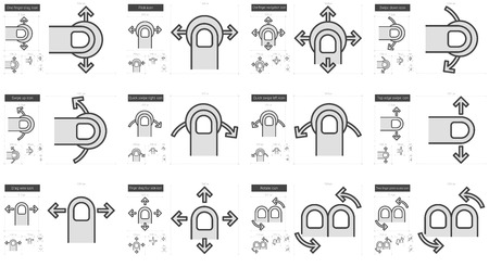 touchpad: Touch gestures vector line icon set isolated on white background. Touch gestures line icon set for infographic, website or app. Scalable icon designed on a grid system. Illustration