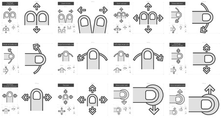 moving in: Touch gestures vector line icon set isolated on white background. Touch gestures line icon set for infographic, website or app. Scalable icon designed on a grid system. Illustration