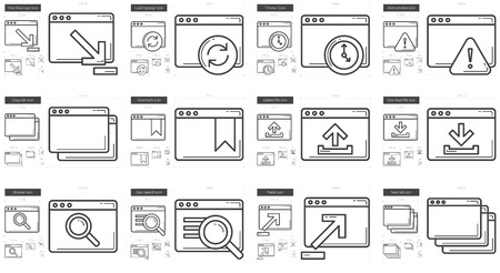browse: Application vector line icon set isolated on white background. Application line icon set for infographic, website or app. Scalable icon designed on a grid system.