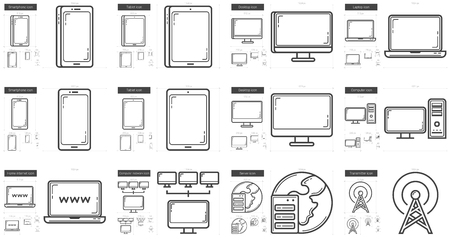lcd display: Gadgets vector line icon set isolated on white background. Gadgets line icon set for infographic, website or app. Scalable icon designed on a grid system.