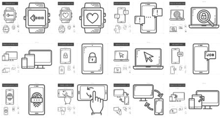 flick: Mobility vector line icon set isolated on white background. Mobility line icon set for infographic, website or app. Scalable icon designed on a grid system. Illustration