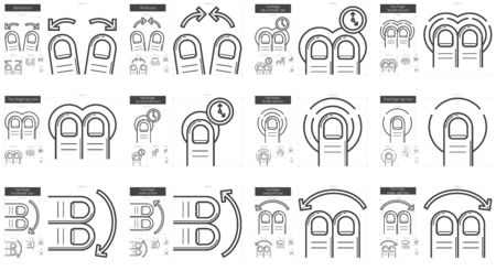 Touch gestures vector line icon set isolated on white background. Touch gestures line icon set for infographic, website or app. Scalable icon designed on a grid system. Vettoriali