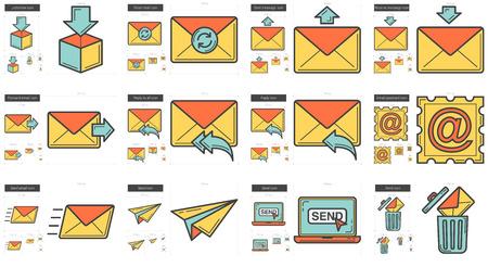 Email vecteur icône de la ligne ensemble isolé sur fond blanc. icône de la ligne E-mail définie pour infographique, site Web ou application. icon Scalable conçu sur un système de grille.