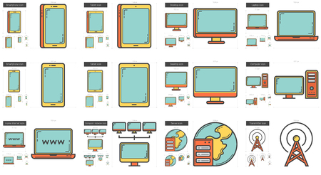 laptop mobile: Gadgets vector line icon set isolated on white background. Gadgets line icon set for infographic, website or app. Scalable icon designed on a grid system.