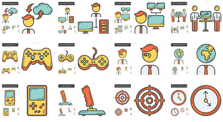 scalable set: Hi-Tech vector line icon set isolated on white background. Hi-Tech line icon set for infographic, website or app. Scalable icon designed on a grid system.