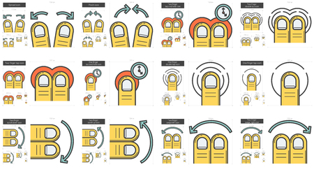 Touch gestures vector line icon set isolated on white background. Touch gestures line icon set for infographic, website or app. Scalable icon designed on a grid system. Illustration