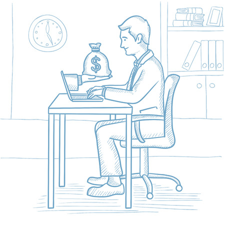 Businessman working in office and bag of money coming out of laptop. Businessman earning money from online business. Online business concept. Hand drawn vector sketch illustration on white background.