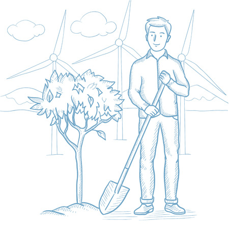 tree planting: Caucasian man plants a tree. Young man standing with shovel near newly planted tree. Man planting tree on a background of wind power plant. Hand drawn vector sketch illustration on white background. Illustration