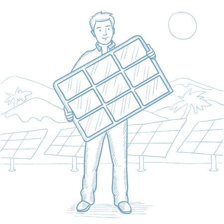 Man holding solar panel on solar power plant background. Man with solar panel on the background of solar power plant. Green energy concept. Hand drawn vector sketch illustration on white background. 向量圖像