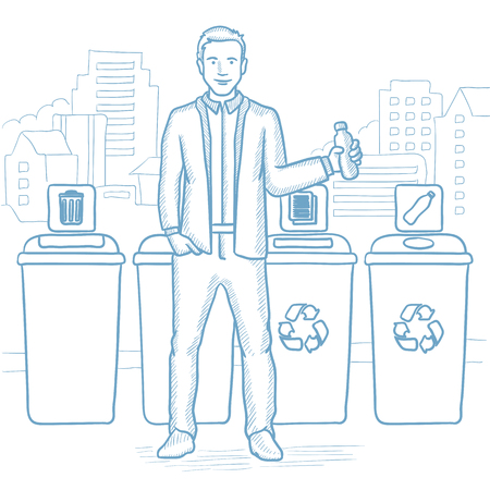 Man throwing away plastic bottle. Man standing near four bins on city background and throwing away plastic bottle in an appropriate bin. Hand drawn vector sketch illustration on white background.