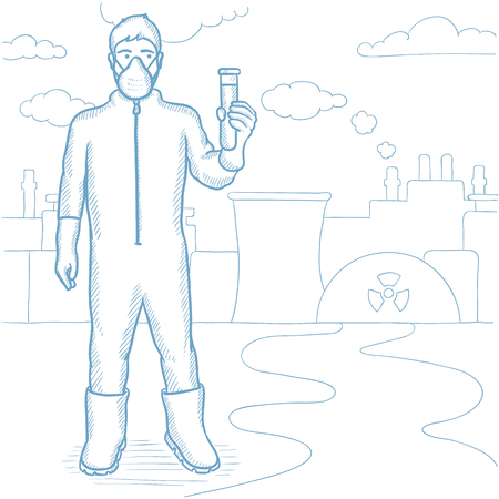 protective suit: Worker of nuclear power plant wearing radiation protective suit. Man in radiation protective suit holding a test-tube with some liquid. Hand drawn vector sketch illustration on white background. Illustration