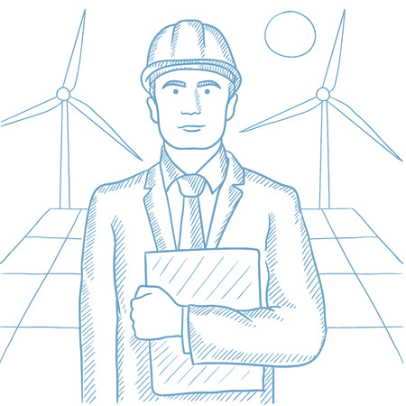 Worker of solar power plant and wind farm. Confident man with folder on the background of solar panel and wind turbines. Green energy concept. Hand drawn vector sketch illustration on white background