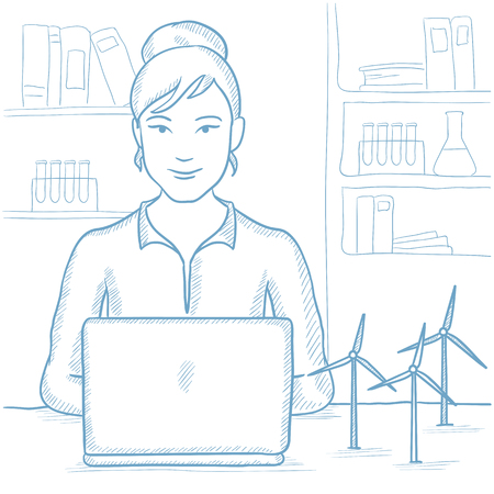 Female worker of wind farm at work. Engineer of wind farm working on laptop. Woman working with model wind turbines. Green energy concept. Hand drawn vector sketch illustration on white background.