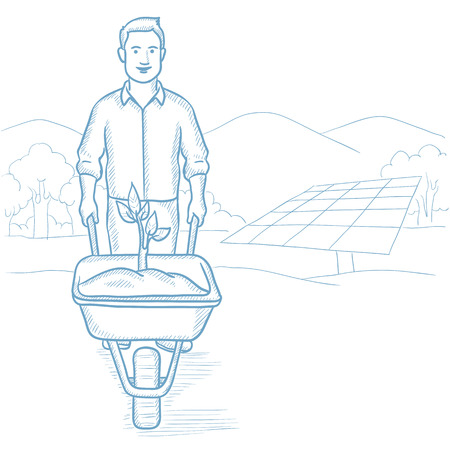 planted: Man carrying wheelbarrow with plant on the background of solar power plant. Worker of solar power plant pushing wheelbarrow with plant. Hand drawn vector sketch illustration on white background. Illustration