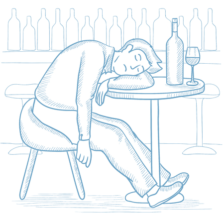 Caucasian drunk man deeply sleeping near the bottle of wine and glass on table in bar. Drunk man sleeping in bar. Alcohol addiction concept. Hand drawn vector sketch illustration on white background. Illustration