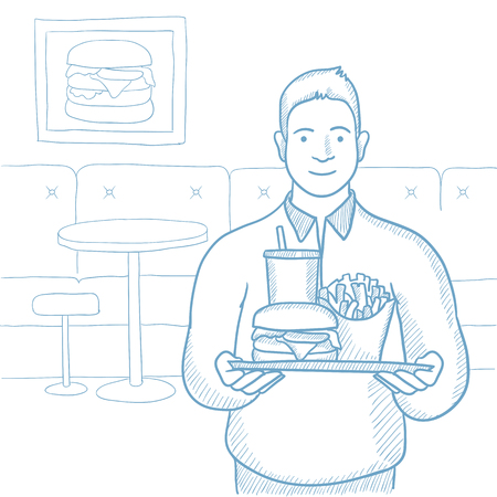 Plump young man holding tray full of fast food. Smiling man in fast food restaurant. Caucasian man having lunch in a fast food restaurant. Hand drawn vector sketch illustration on white background. Ilustração