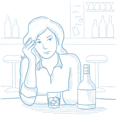 Sad woman sitting with glass and bottle of alcoholic drink at bar. Depressed woman drinking alone at the bar. Woman drinking alcoholic drink. Hand drawn vector sketch illustration on white background.