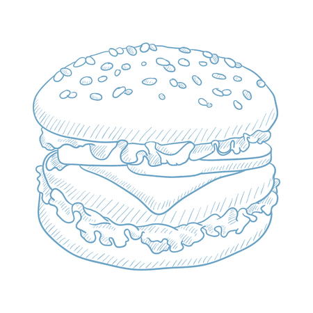 Hamburger with meat, cheese and lettuce. Hamburger hand drawn on white background. Hamburger with meat, cheese and lettuce sketch illustration. Hamburger with meat and lettuce vector illustration. Banco de Imagens - 65759305
