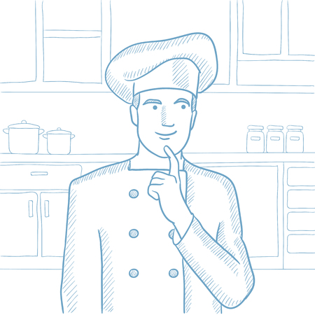 Caucasian chief-cooker in uniform standing in the kitchen and pointing forefinger up. Chef thinking about the recipe. Chef having an idea. Hand drawn vector sketch illustration on white background. Ilustração