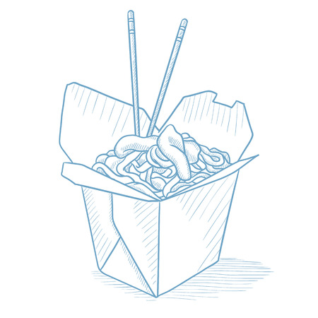chinese food container: Chinese food and chopsticks in a takeaway container. Chinese food in a takeaway container hand drawn on white background. Chinese food sketch illustration. Chinese food vector illustration.