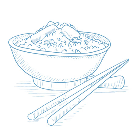 Bowl of boiled rice with chopsticks. Bowl of boiled rice with chopsticks hand drawn on white background. Bowl of boiled rice vector illustration. Bowl of boiled rice sketch illustration.