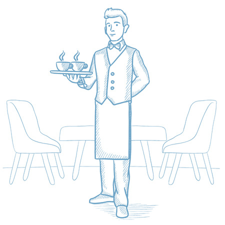 waiter tray: Caucasian waiter holding a tray with cups of tea or coffee in a restaurant. Waiter with cups of coffee or tea in a restaurant. Waiter at work. Hand drawn vector sketch illustration on white background Illustration