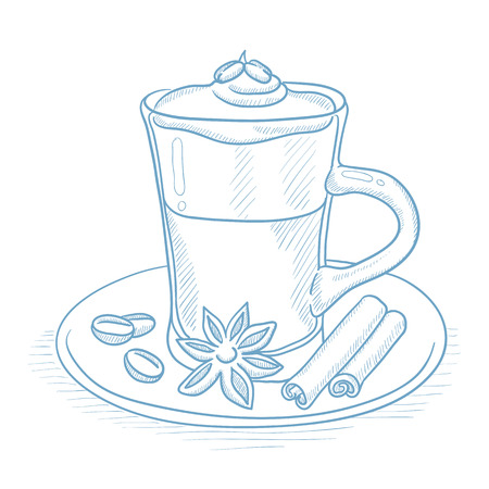 Coffee cup with anise, sticks of cinnamon and coffee beans on saucer. Coffee with anise and sticks of cinnamon hand drawn on white background. Coffee vector illustration. Coffee sketch illustration.