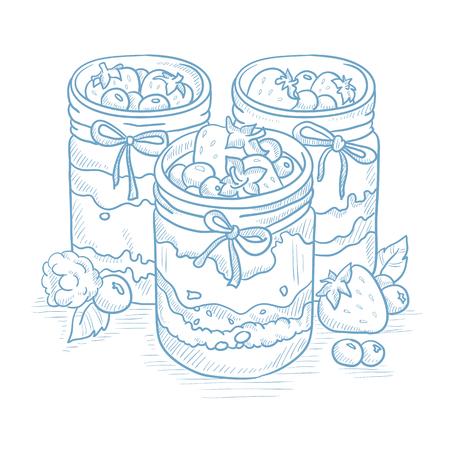 Jam in glazen potten en verse bessen. Jampot en bessen met de hand getekend op een witte achtergrond. Jampot en bessen schets illustratie. Jampot en bessen vector illustratie.
