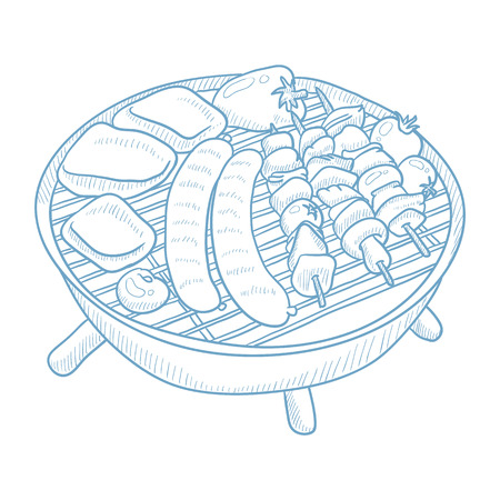 Assorted delicious grilled meat with vegetables on a barbecue grid. Grilled meat with vegetables hand drawn on white background. Grilled meat sketch illustration. Grilled meat vector illustration.