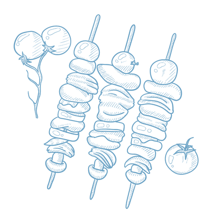 Shish kebabs on skewers. Shish kebabs on skewers hand drawn on white background. Shish kebabs on skewers sketch illustration. Shish kebabs on skewers vector illustration.
