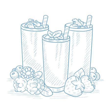 Diverse verse bessen smoothies in glazen met stro. Smoothies hand getekend op een witte achtergrond. Smoothies in glazen vector illustratie. Verse bessen smoothies in glazen schetsillustratie. Stock Illustratie
